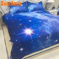 cama de espacio reina al por mayor-Svetanya Funda de almohada + Funda nórdica Juego de cama 3D (sin sábanas) Universo Espacio exterior Ropa de cama Galaxy Doble tamaño Queen Doble