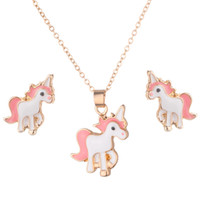 Wholesale 1 set Necklace Earrings Cartoon Horse Unicorn Necklace Earring Jewelry Pink Girls Gift Jewelry