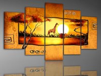 melhores pinturas a óleo modernas venda por atacado-Handmade pintura abstrata africano paisagem do sol pintura a óleo da lona moderna da parede da lona de arte pinturas a óleo quarto melhor qualidade de pintura