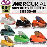 Wholesale womens ankle boots high heels - New 2018 Original Mens Kids Womens Mercurial Superfly VI 360 Elite FG Football Boots High Ankle Orange Soccer Shoes Boys Soccer Cleats 35-46