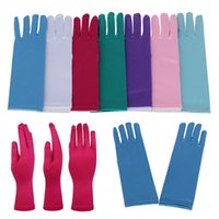 Wholesale wedding dress cloth resale online - Girls Full Long Gloves For Halloween Christmas Cosplay Costume Kids Satin Cloth Length Gloves For Wedding Party Pricess Dress Up WX9