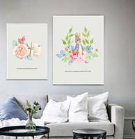 schöne wohnkultur bilder großhandel-Moderne Kaninchen Schöne Blumen Aquarell Kunstdrucke Poster Wandbilder Leinwand Malerei Für Baby Room Home Decor