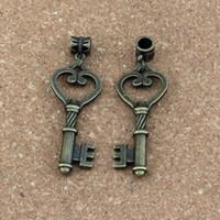 ingrosso grande chiave antica-50 pz / lotto Ciondola Bronzo Antico chiavi Charms Big Hole Beads Fit Collana pendente di Fascino Gioielli FAI DA TE 18.8x56.5mm A-321a