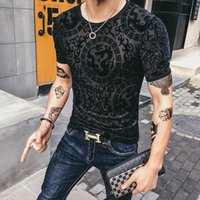 ingrosso trasparente di seta di mens-Mens See Through Magliette Social Club Velluto trasparente T-shirt per uomo Dragon Camisetas Hombre Slim Fit seta sexy
