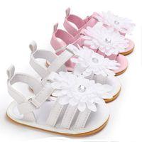 sevimli sandaletler çiçekler toptan satış-Bebek Erkek Kız Yaz Sandalet Çiçek Kaymaz Çiçek Sevimli Beşik Ayakkabı Yumuşak Sole Prewalkers 0-18 M