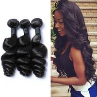 pelo virginal real envío gratis al por mayor-Suministro Directo de fábrica Malasia Pelo Virginal Humano Loose Wave Hair Bundles 1B Color Suave Real con Envío Gratis