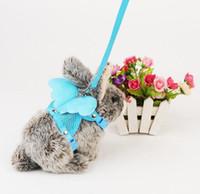 diseño de correa al por mayor-las alas del ángel lindo de la tracción del conejo diseñan el arnés del chaleco del conejo del hámster del conejito con el cable de la correa