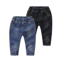 ingrosso i capretti coreani di moda abbigliamento-DZIECKO Pantaloni per bambini Primavera Autunno Boy's Fashion Jeans Kids Long Solid Pants Coreano Straight Elastic Waist Clothing