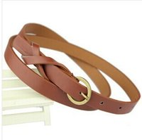 vestido blanco cinturón amarillo al por mayor-Cinturón de cuero fino de la PU Mujer Rojo Marrón Negro Blanco Amarillo Cinturones de cintura Vestido de las mujeres Correa Cinturon Mujer Cinto Feminino Cinturones