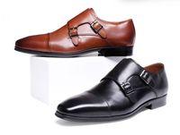 erkekler için burunlu ayakkabı toptan satış-Erkekler Elbise ayakkabı Monk ayakkabı Özel el yapımı ayakkabı Hakiki dana Deri Renk Kahverengi kayış çift tokaları İtalyan erkekler moda oxfords
