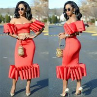 Wholesale unique cocktails - African Sexy Off Shoulder Mermaid Prom Dresses With Sash Unique Short Sleeves Tea Length Evening Dress Vestidos Aso Ebi Cocktail Party Gowns