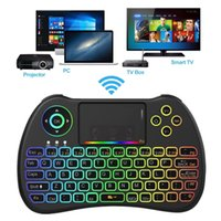 Wholesale laptop backlit online - H9 Backlit Fly Air Mouse Colorful Backlight Mini QWERTY Keyboard Ghz Wireless Remote Control for Android TV Box Mini PC HTPC
