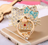 Wholesale Kitty Cell Phone - Hello kitty Bling Diamond Ring Phone Holder buckle Unique Cell Phone Holder Fashion For iPhone X 8 7 6s Samsung S8 cellphone stand iPad