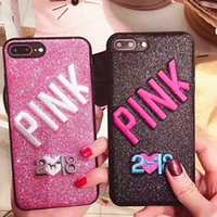 Wholesale Iphone 3d Skin - 2018 New PINK Bling Soft TPU Case For Iphone X 8 7 Plus 6 6S Samsung Galaxy S9 Glitter 3D Embroidery Love Pink Cell Phone Skin Cover 60pcs