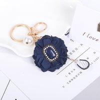 Wholesale Handmade Pearl Rings - hot sale 2 colors bag accessories charms key rings Fashion ladies elegant handmade flower pearl diamond crystal keychain