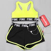 ingrosso pantaloni fitness-New Style PINK Tuta da ragazza Summer Sport Wear Cotton Yoga Suit Fitness Pantaloni corti Gym Top Vest Pants Running Underwear Runner Outfits