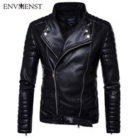 pu leather sleeves jackets 2018 - Envmenst 2017 New Fashion Autumn Leisure Stand Collar Motorcycle Jackets PU Male Striped Shoulder Sleeves Faux Leather Jacket