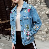 Wholesale Womens Bomber Jacket Xl - New Arrival Exquisite Floral Embroideried Jean Jacket Womens 2018 Casual Long Sleeve Abrigos Mujer Elegant Spring Female Bomber S~XL