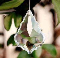 Wholesale Prism Crystal Suncatcher - 5pcs lot 76mm clear crystal mape leaf shape pendants for chandelier parts,lamp suncatcher hanging prisms decor free shipping