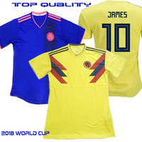 Wholesale football nation - world cup 2018 Colombia soccer Jersey #10 JAMES Top Thai quality Home yellow away blue Nation Football Shirt jerseys 9 FALCAO uniform sales