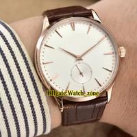 reloj ultra delgado para hombre de oro al por mayor-Nuevo 40mm Master Control Ultra Thin 1352520 White Dial Swiss Quartz reloj para hombre Caja de oro rosa Correa de cuero Relojes de alta calidad