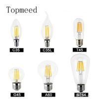 светодиодные лампы накаливания с возможностью затемнения оптовых-Dimmable светодиодные лампы накаливания лампы 4 Вт 8 Вт 12 Вт 16 Вт высокой мощности стеклянный шар лампы 110 В 220 В 240 в ретро светодиодные Эдисон лампы свечи