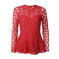 Wholesale Tee Shirt Crochet - Hollow Out Crochet Floral Lace Red Blouse Tee Shirt For Women Long Sleeve Round Neck Ruffle Hem Vintage Femme 2018 Blusa WS5890U