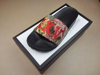 Wholesale brocade boxes - fashion Multicolor Floral Brocade slide sandals mens and womens beach causal slippers with thick rubber sole white black box