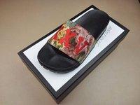 sohle pu sandale großhandel-Mode Multicolor Floral Brocade Rutschsandalen Herren und Damen Strand Kausal Pantoffeln mit dicker Gummisohle weiße schwarze Box