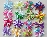 Wholesale hair ponytail bobbles - 16pcs 3.5 Korker Ponytail Hair Ties Holders Streamer Corker Bows Clip Cheer Bows Curly Ribbon Hair Bobbles Accessories