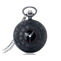 Wholesale Digital Fob Watches - Classic Roman Pocket Watch Vintage Pocket Watch Necklace Watch Carving Engraved Fob Clock Men Women Gift With Necklace 0132