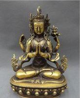 estatua de kwan al por mayor-Tibet bronce budista Kwan-Yin Diosa Lotus 4 brazos Kwan-Yin estatua de Buda
