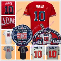 Wholesale Dark Green Jersey - Chipper Jones Jersey with 2018 Hall OF Fame & Retirement Patch Men Women Youth 1995 Stitched Cool Base Red White Cream Dark Blue