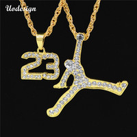 Wholesale Cross Gift Box - Uodesign Hiphop Jewelry Sport Man And Basketball Number 23 Hoop Gold Color Pendant Box Chain Necklace For Men Women Gifts