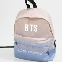 Wholesale kpop bags - Kpop home BTS Bangtan Boys love youself Same logo harajuku style unisex Gradient color backpack student fashion bag