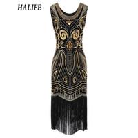 Wholesale sequined dresses for sale - HALIFE Summer Dress s Sequined Retro Party Beading Fringe Sleeveless Bandage Pencil Work Flapper Dress Plus Size S15