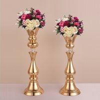 Wholesale Tall Wholesale Wedding Vases - Gold flower rack 45 50 cm tall candle holder wedding table centerpieces vase decoration event party road lead 1 lot = 10 pcs