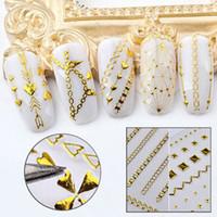 nagelkunst aufkleber streifen großhandel-3D Nail Sticker Streifen Geometrische Muster DecalsAdhesive Gold Welle Linie Herz Pfeil Maniküre DIY Nail art Transfer Aufkleber Aufkleber