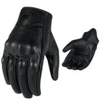 gants de moto pour hommes achat en gros de-Hommes Rétro Moto Gants Respirant Perforé En Cuir Véritable Moteur Motocross Moto Gants Luva Motoqueiro Guantes Moto