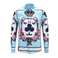 ingrosso farfalla re-True Reveler Poker camicie da uomo manica lunga hip hop discoteca top camicetta corona stampa cuore diamante fiore farfalla re camicie