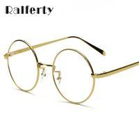 9f5e9ca937e Ralferty Oversized Korean Round Glasses Frame Clear Lens Women Men Retro  Gold Eyeglass Optic Frame Eyewear Vintage Spectacles