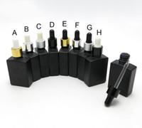 ingrosso bottiglie quadrate nere-5PCS / LOT 30ML Bottiglie contagocce contagocce olio essenziale quadrato nero opaco con tappo contagocce in alluminio