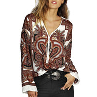Wholesale Shirt Tribal - Women vintage totem paisley V nck blouses long sleeve Tribal retro shirts Blusas Femininas European office loose tops LT591