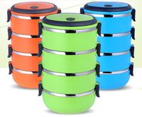 caja de almacenamiento de metal envío gratis al por mayor-Mas barato !!! 304 caja de almuerzo de acero inoxidable contenedor de almacenamiento de alimentos Bento cuadro térmico con mango envío gratis