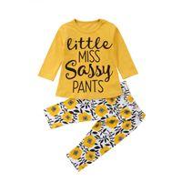 neugeborene legen kleider an großhandel-Yellowe Blume Kinder Baby Mädchen Kleidung T-shirt Tops + Pants 2 STÜCKE Set Outfits Langarm Neugeborenen Kleinkind Baby Kleidung