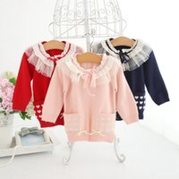 Wholesale wool clothes for babies resale online - Baby Cardigan Pink Wool Knitted Coat For Girls Sweater Children s Clothes Front Pocket Ruffle Collar Outerwear Baby Outfits
