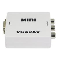 vga ntsc adapter großhandel-heißer Verkauf Neue Mini Composite Video RCA zu VGA TV Konverter Adapter Box Unterstützung NTSC PAL Ausgang HDMI TO AV Adapter mit USB Kabel