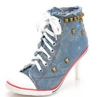 новые туфли на каблуке модели оптовых-Новый корейский женская обувь ковбой высокие каблуки заклепки прилив холст обувь новые взрывоопасные модели