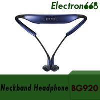 s6 kenarı paketi toptan satış-Seviye BG920 Samsung S6 için Bluetooth Kablosuz Kulaklık Spor Stereo Kulaklık S7 Kenar Not 7 Perakende Paketi ile 60 adet