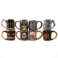 Wholesale skull knight - Personalized Skull Mugs Double Wall Coffee Creative Stainless Steel Knight Tankard Dragon Drinking Tea Cup Caneca Viking Gift